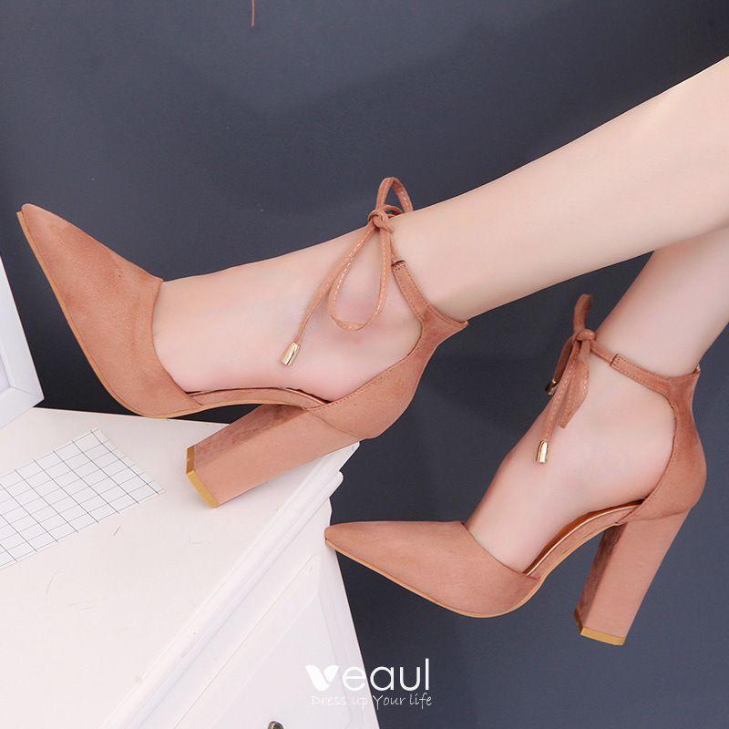 Niedrogie Ecru Przypadkowy Buty Damskie 2020 Zamszowe Z Paskiem 10 Cm Grubym Obcasie Szpiczaste Na Obcasie In 2020 Casual Shoes Women Pointed Toe Heels Women Shoes
