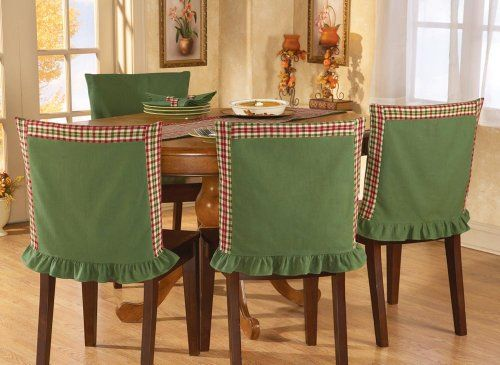 Collections Etc Red Green Plaid Chair Back Covers Collections Http Www Amazon Dining Room Chair Covers Kitchen Chair Covers Dining Room Chair Slipcovers