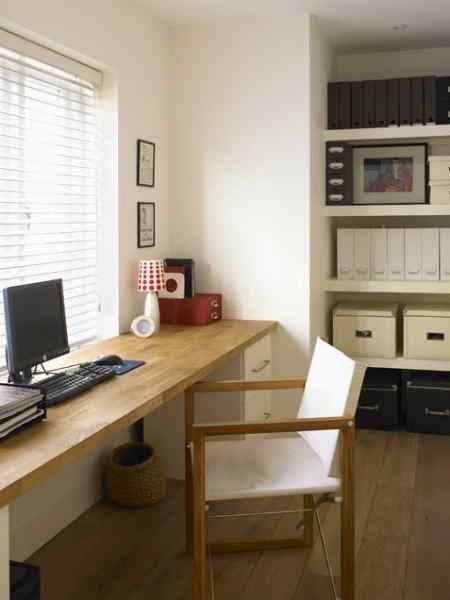 Love The Wood And The Length Of This Skinny Desk From 48 Amazing Ideas For Home Organisation Home Office Decor Home Office Design Modern Home Office
