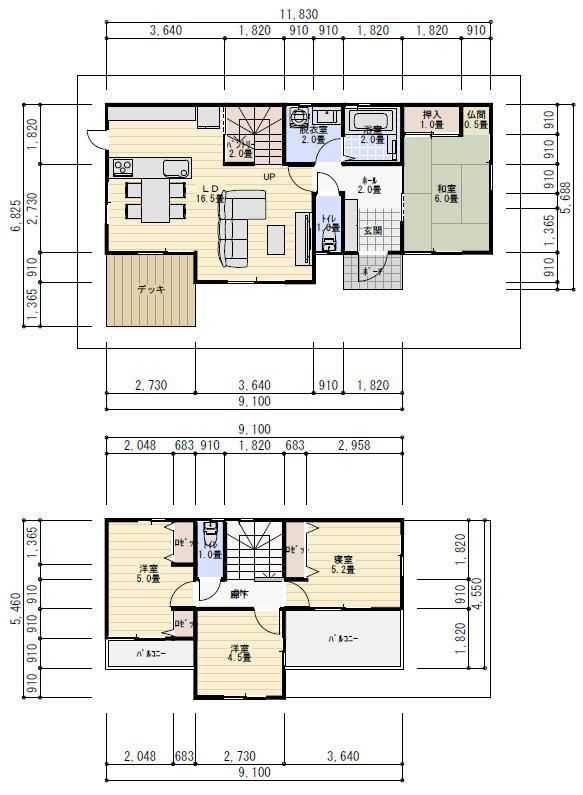 28坪4ldkデッキ庭のある間取り 理想の間取り 28坪 間取り 間取り 2階 間取り