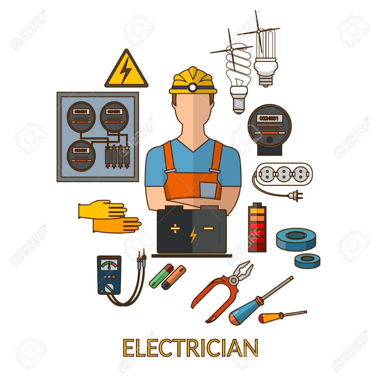 Professional Electrician With Electricity Tools Silhouette Vector Clip Art Lighting Logo Logo Shapes