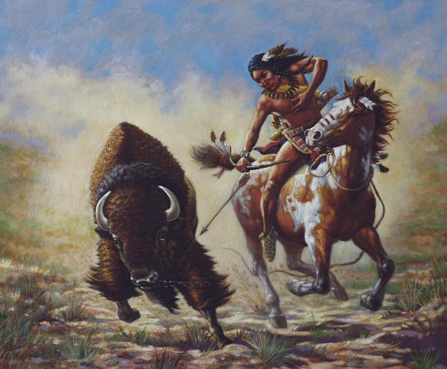 this painting represents a buffalo hunt or chase on
