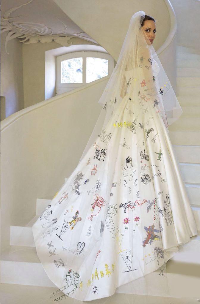 10 Of The Most Stylish Celebrity Weddings Of 2014 Bridal Musings Angelina Jolie Wedding Dress Angelina Jolie Wedding Versace Wedding Dress