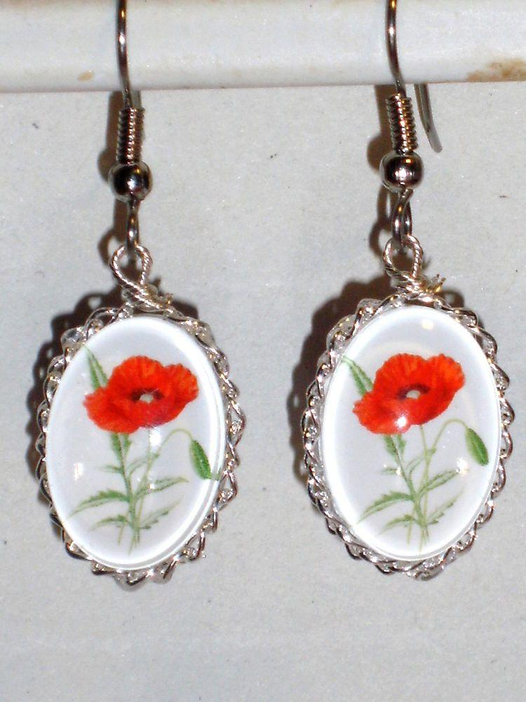 Details Zu Ohrringe Mohnblume Damen Ohrschmuck Modeschmuck Ohne Stein Durchzieher Glas Ohrschmuck Modeschmuck Ohrringe