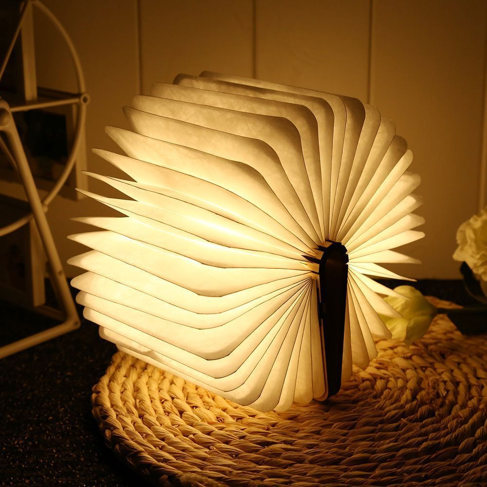 Usb Rechargeable Warm White Led Wooden Folding Mini Book Shape Lamp Night Light Unbranded Book Lamp Bedroom Decor Lights Book Lights
