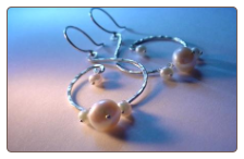 Freshwater Pearl and Sterling Silver Hammered Swirl Earrings