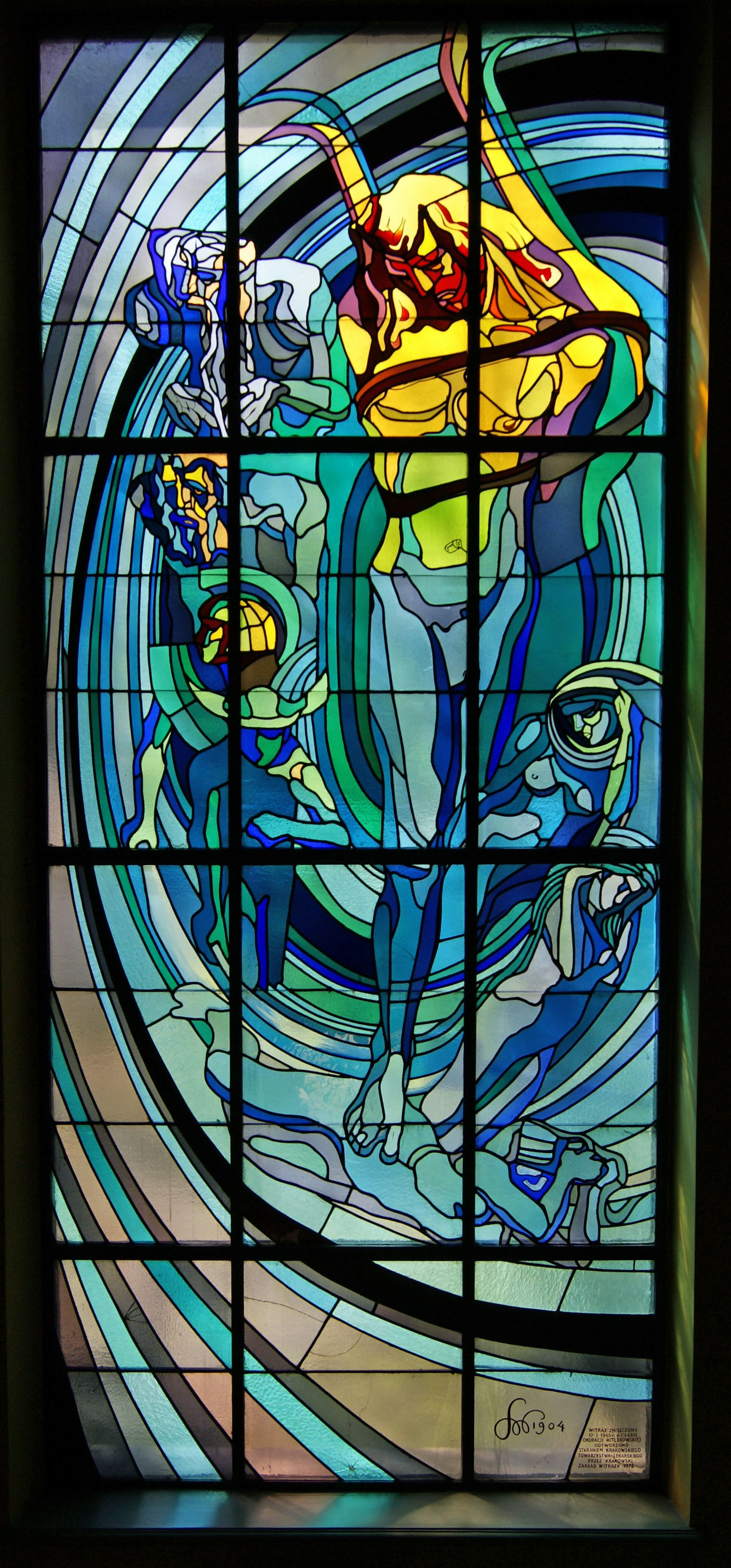 APOLLO  Stained Glass Window Designed By Stanisław Wyspiański, KRAKÓW POLAND