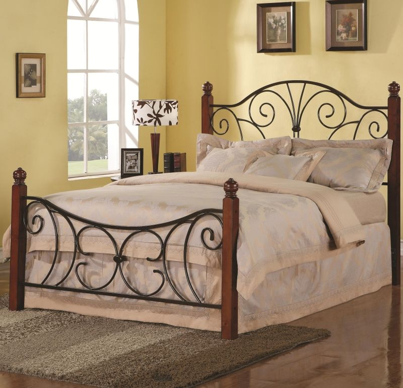 339da78a0ab1c7 Swirl Design Queen Wood with Metal Headboard & Footboard Bed | house ...