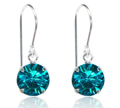 TEAL ZIRCON SINGLE CRYSTAL DROP EARRINGS. NOW 80% OFF. YOU PAY $17.80.