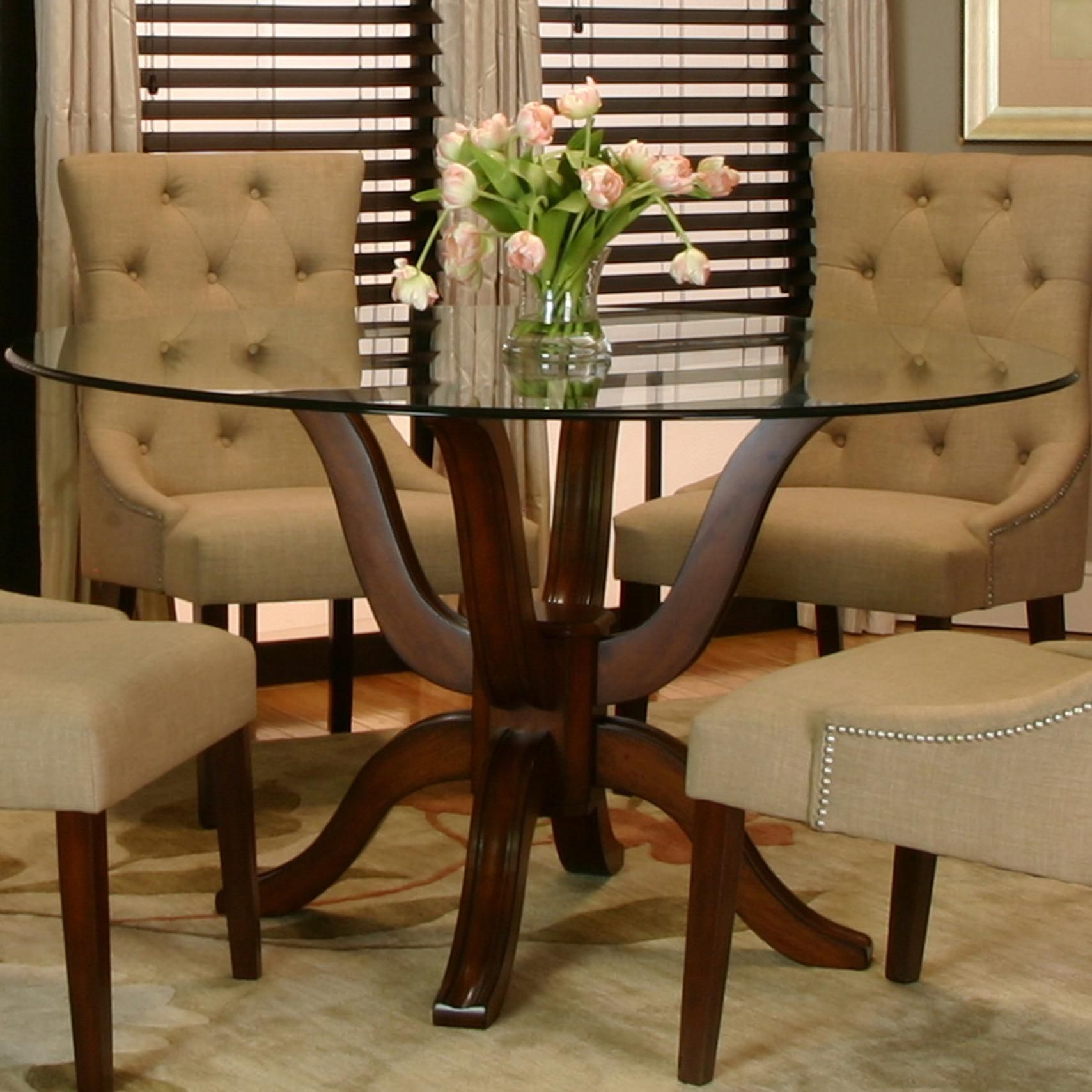 With A Classic Traditional Style, The Round Glass Table Top Of The Dark  Wood Pedestal ...
