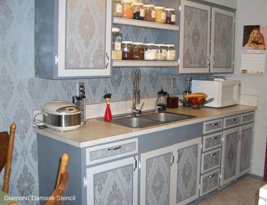 Stencil Spotlight: Diamond Damask Stencil | Simple kitchen ...