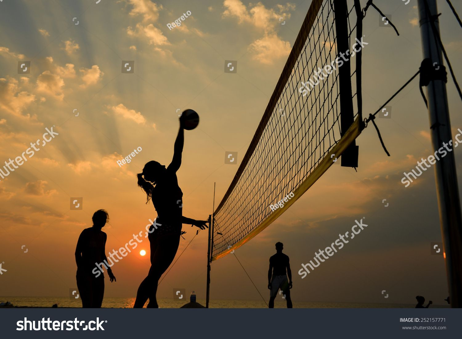 Beach Volleyball Silhouette Sunset Motion Blurred Royalty Free Image Photo In 2020 Volleyball Silhouette Beach Volleyball Motion Blur