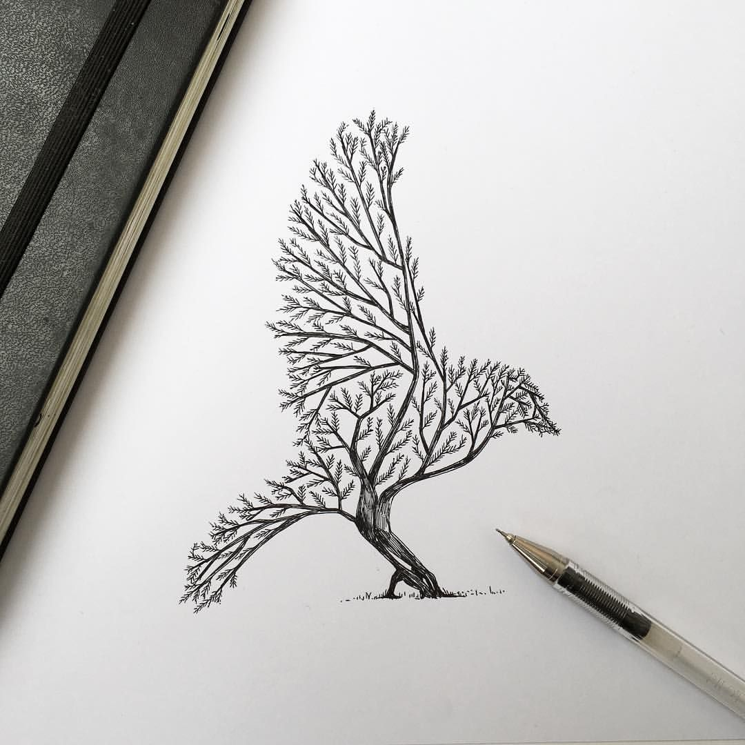 Bird Tree Something So Simple Can Create A Bird A Image That You Really Need To Look Through It Pen Illustration Sketches Drawings