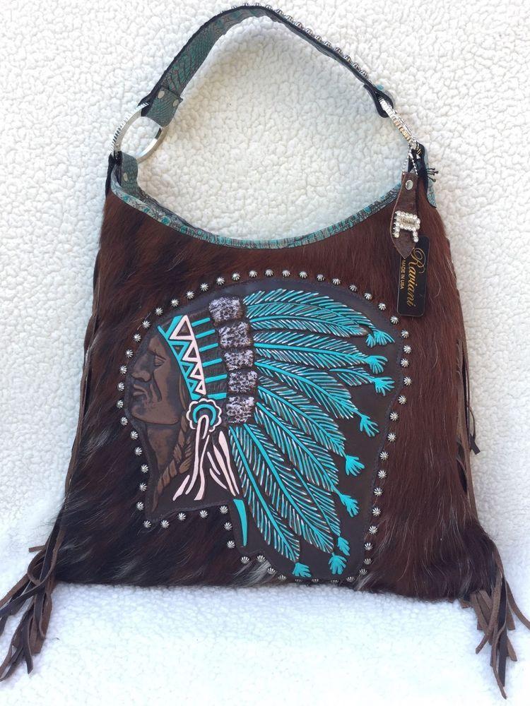 c7e5b49997 Raviani Western Leather Handbag Fringe Purse Aztec Painted Navajo Indian  Chief  Raviani  ShoulderBag