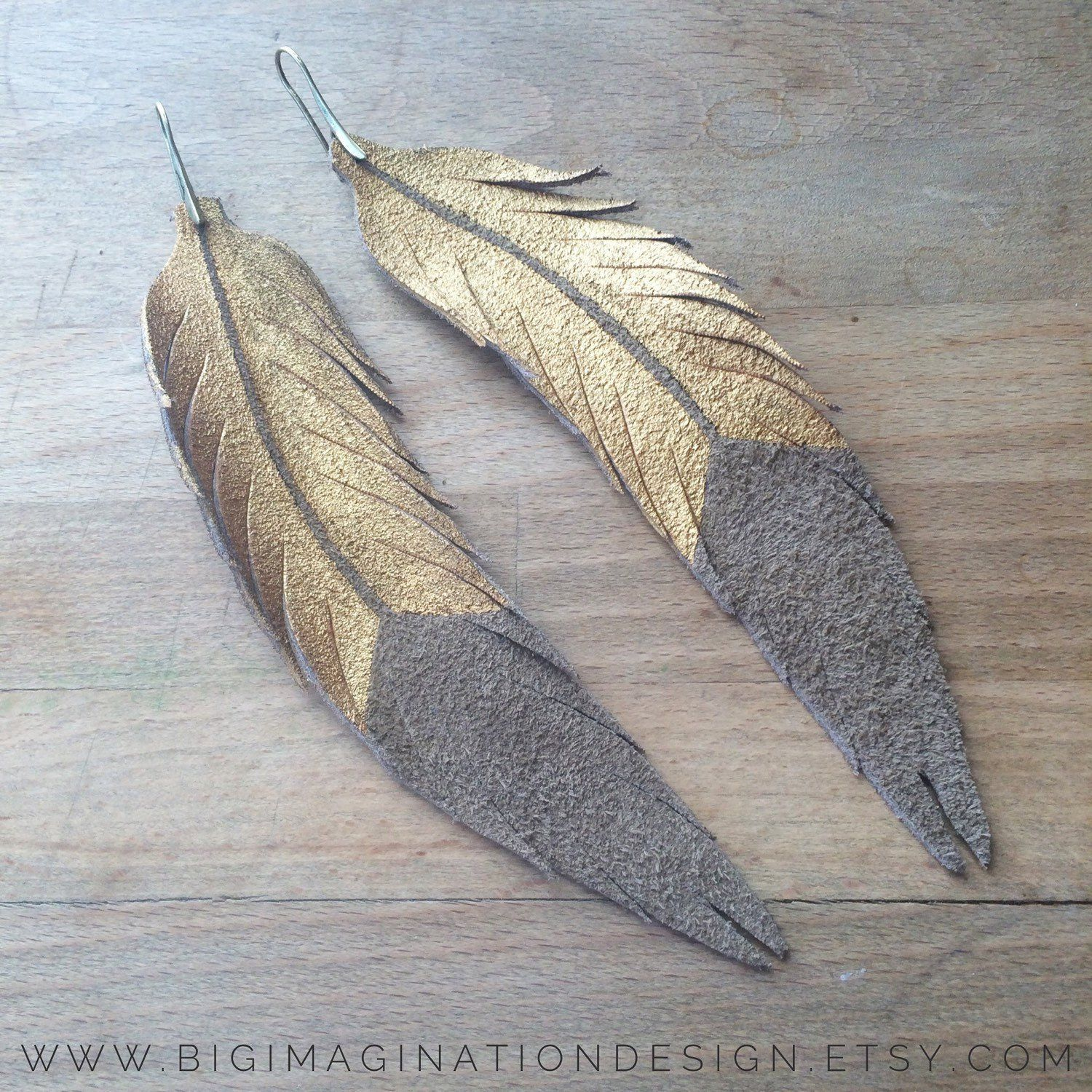 Photo of LONG Feather Earrings – Leather Feather Jewelry – 6.25″ Taupe Suede with Gold Paint