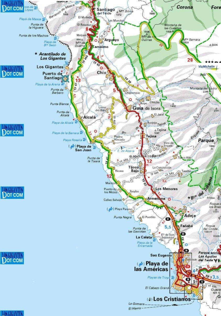 Road map west Tenerife Los Gigantes Pinterest Tenerife
