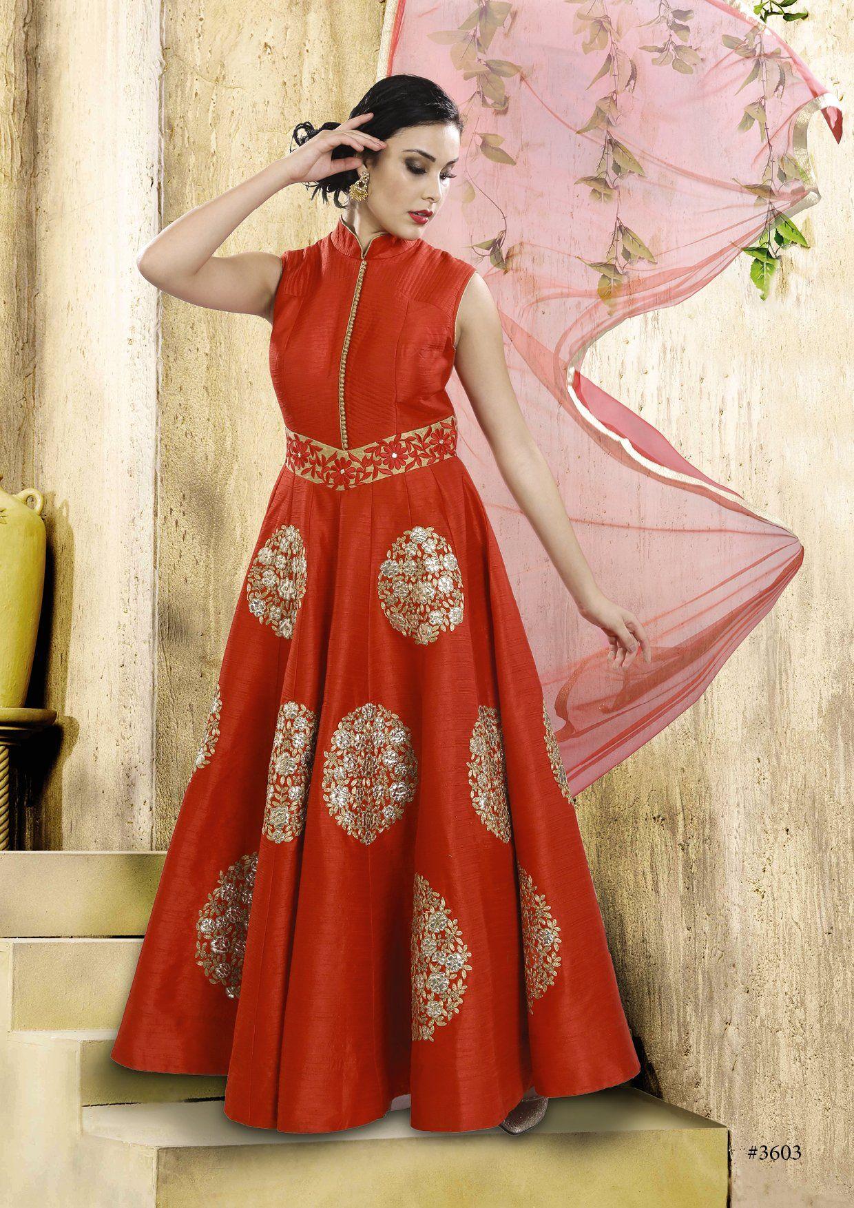 Enticing auburn silk indowestern anarkali gown anarkali gown