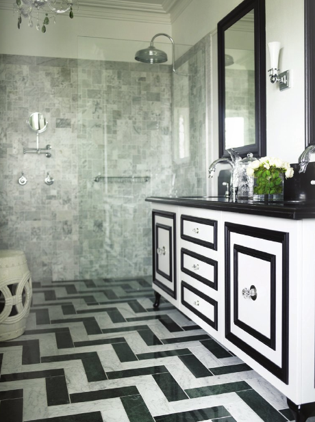 Black U0026 White Marble Bathroom With Herringbone Floors.