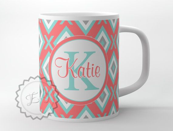 Personalized Diamonds Coffee cup Pink Coral by ButterflyGhost