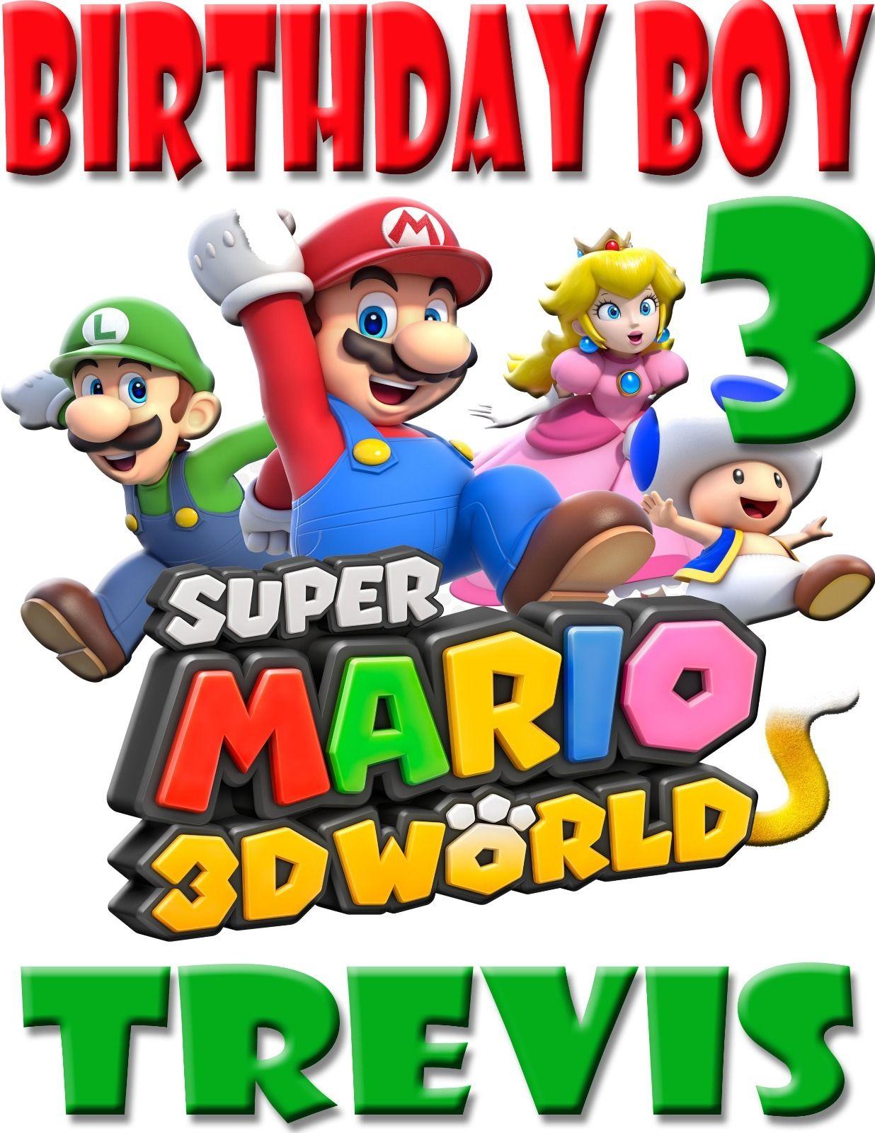 New super mario 3d custom birthday boy shirt add name