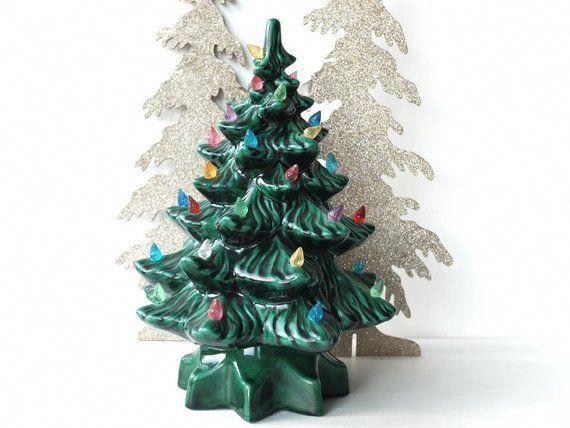 Ceramic Christmas Tree with Lights Lighted Tree Vintage