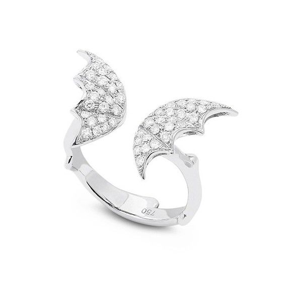 Stephen Webster 'Fly By Night' diamond 18k white gold batmoth open... (16.890 BRL) ❤ liked on Polyvore featuring jewelry, rings, metallic, diamond fine jewelry, white gold diamond jewelry, diamond charms, wing charms and white gold charms