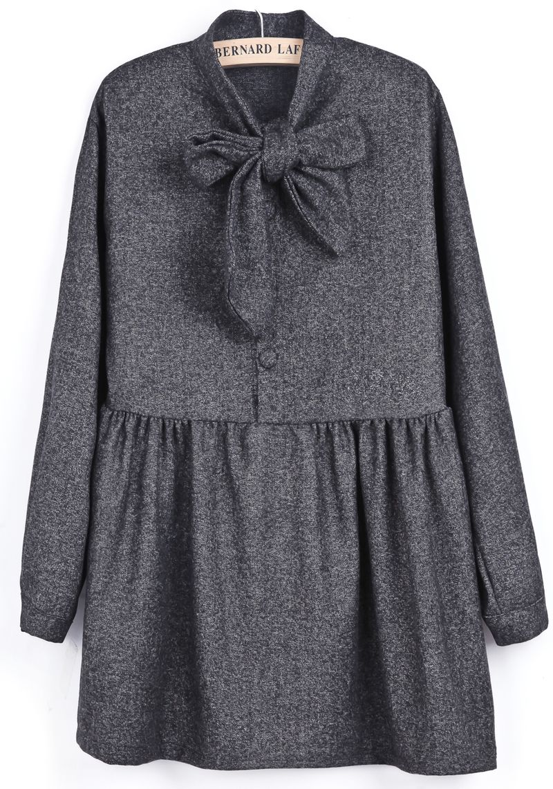 Grey Long Sleeve Bow Pleated Buttons Dress US$31.97