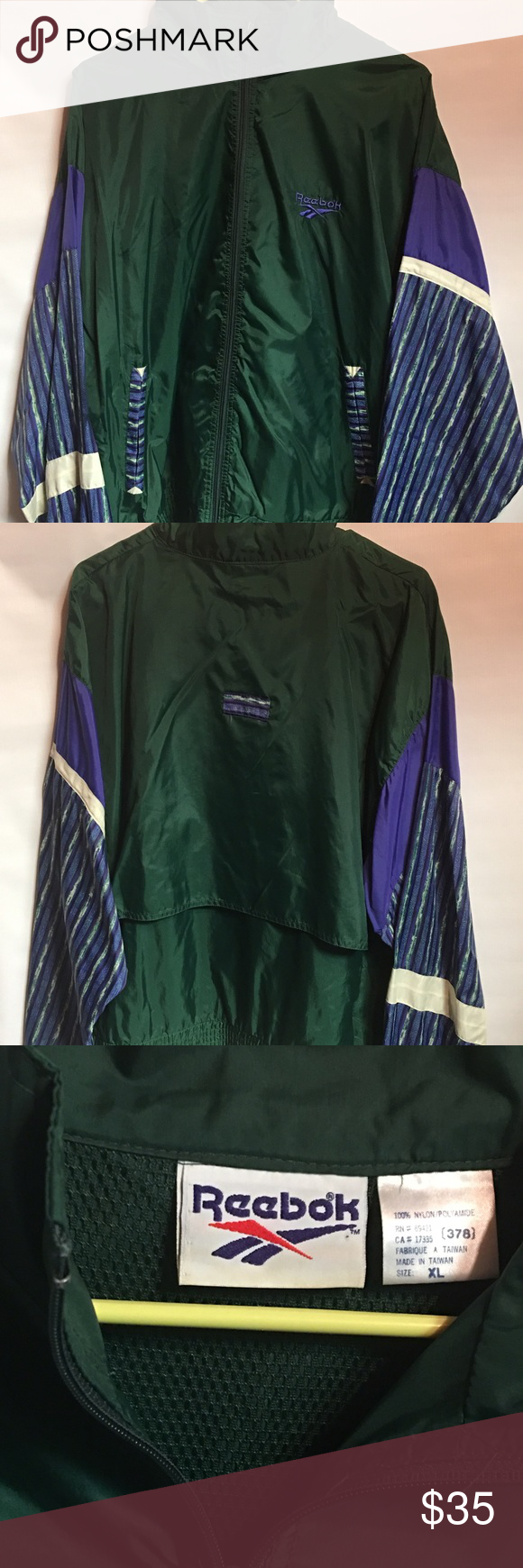 Vintage 90's Reebok Windbreaker Jacket Gently worn Vintage 90's Windbreaker Jacket. This is a Men's XL. Such a great color scheme. No flaws with this one. reebok Jackets & Coats Windbreakers