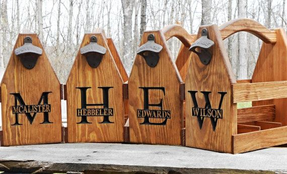 Man Cave Groomsmen Gifts : Wooden beer tote personalized carrier six pack home