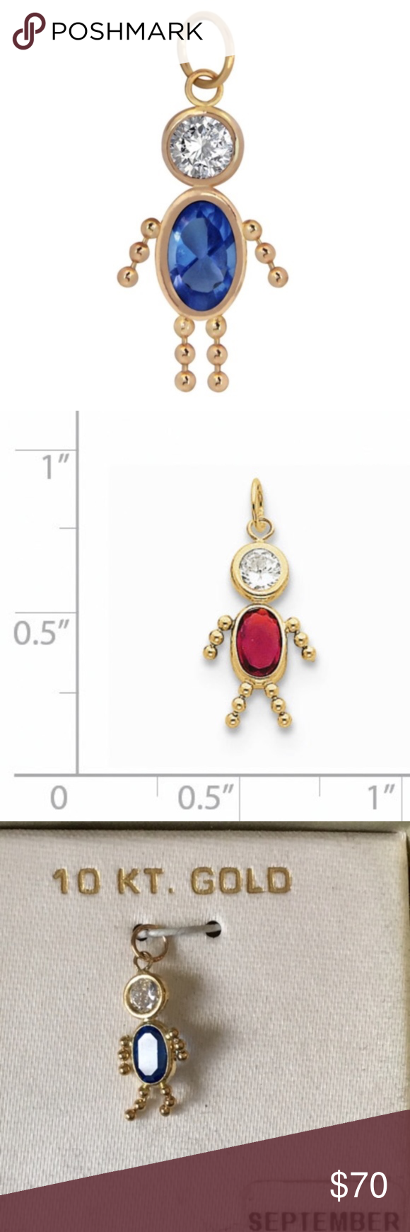 Birthstone Babies Boy Charm September 10k Gold Brand Unbranded Material 10k Gold Measures About 75 Long Pendant Measures Abou Birthstones Gold Jewelry