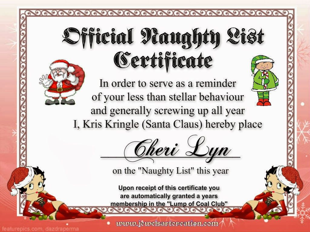 santa NAUGHTY LIST CERTIFICATES Official Naughty List - Christmas Certificates Templates For Word