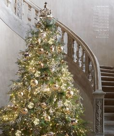 classic christmas tree in gold and silver... restoration hardware ...