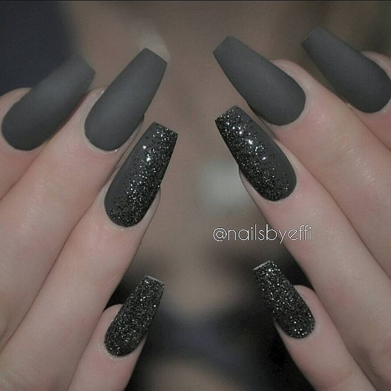 Grey Matte With Black And Silver Silver Nails Trendy Nails Coffin Nails Designs