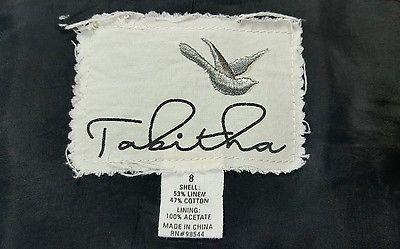 Tabitha Anthropologie Black White specked Linen Blend Lined Blazer Jacket Size 8