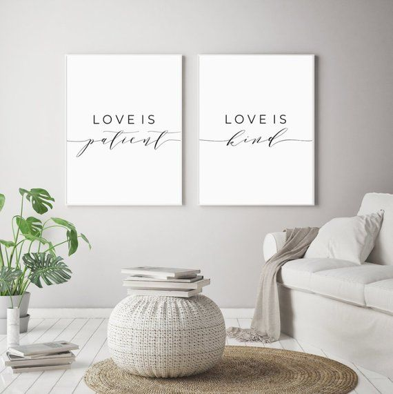Love is Patient Love is Kind Printable Sign Set, Bedroom Love Quote Decor, Religious Wall Art Prints, Instant Digital Download 8×10&16×20