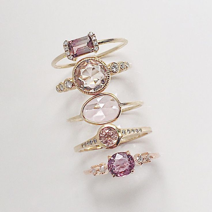 Hues of soft pink accented with just the right amo is part of Vale jewelry, Fashion jewelry, Jewelry design, Kay jewelry, Gold jewelry fashion, Best jewelry stores - Hues of soft pink accented with just the right amount of diamonds  From top PS Ring with Pink Tourmaline, Aurora with Morganite, Pink Sapphire Slice, Caldera with Pink Tourmaline, Pascale with Pink Spinel madeinnyc ringstack pinkstones…