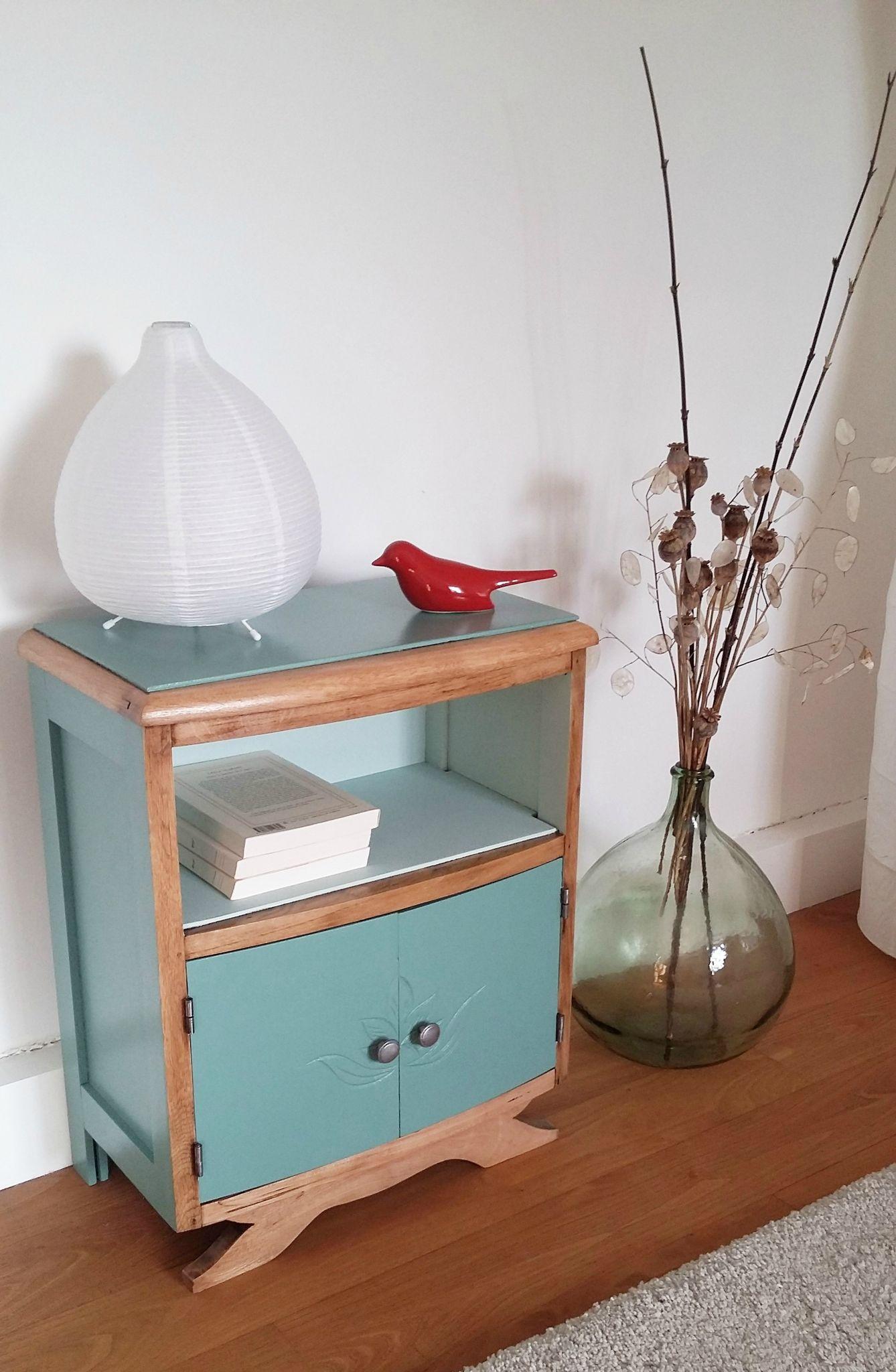 Table de chevet vintage ann es 30 vert revisit e mobilier en 2019 chevet vintage mobilier - Meuble des annees 30 ...
