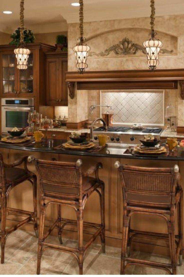 Mediterranean inspired kitchen design with large island ...