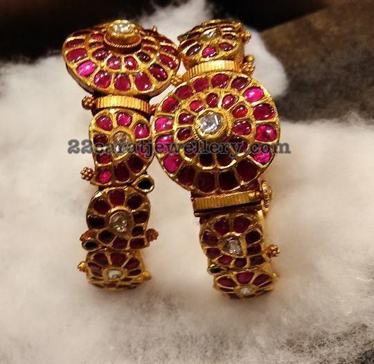 dfffd1e863a79 Polki and Kundan Broad Bangles   Gold bangles   Kundan bangles ...