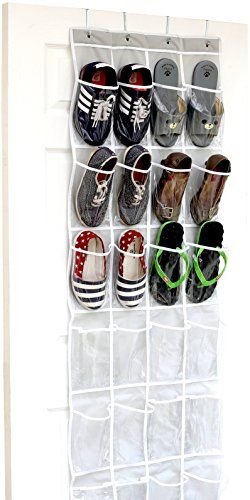 24 Pockets - SimpleHouseware Crystal Clear Over the Door Hanging Shoe Organizer, Gray (64'' x 19'') > Read more by clicking on the image
