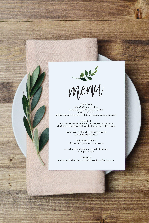 Greenery Simple Menu // Modern, Wedding, Watercolor #weddingmenutemplate