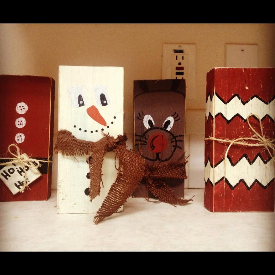 Christmas Wood Block Decorations 20