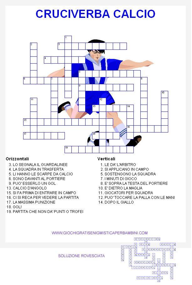Cruciverba Sul Gioco Del Calcio Italiano Pinterest Education