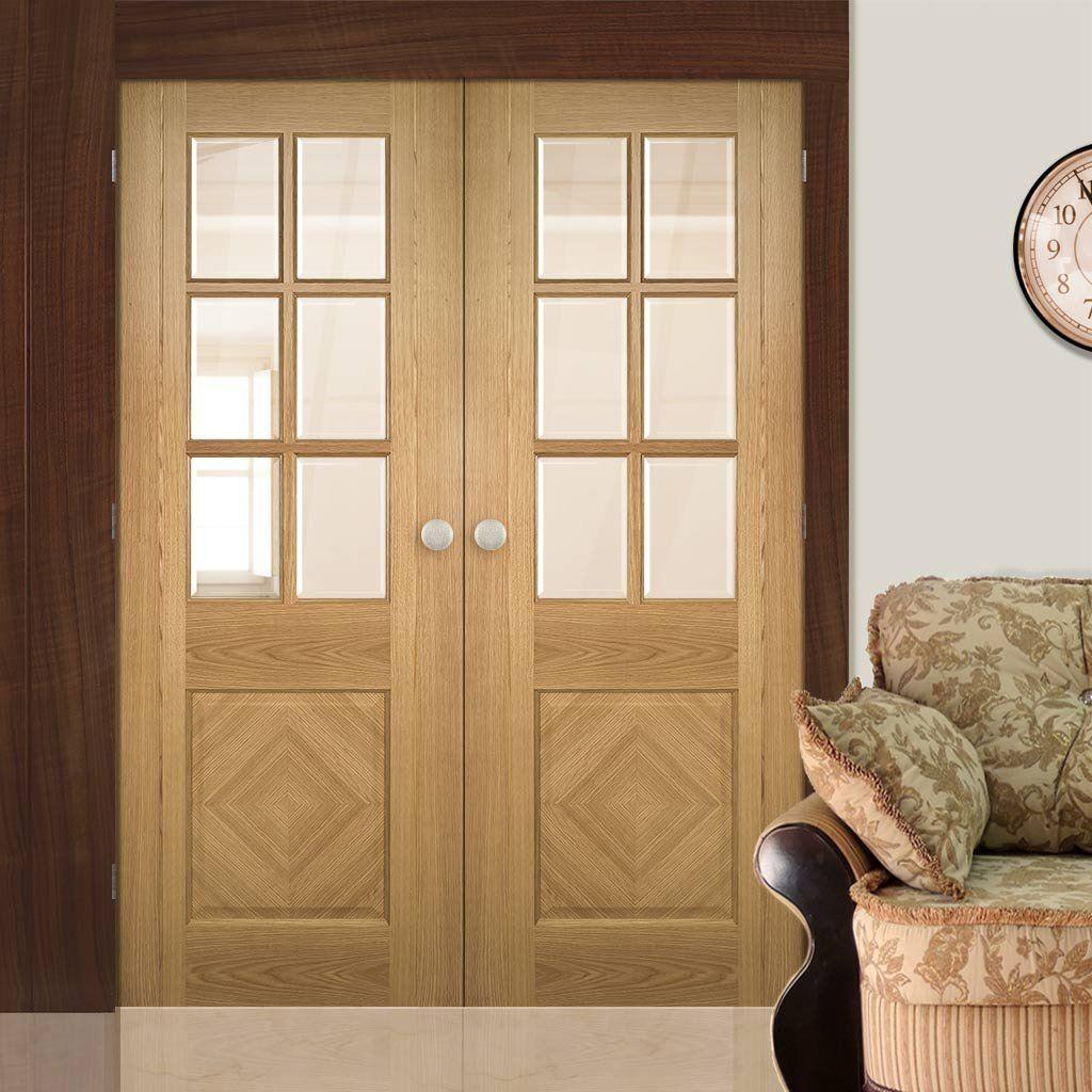 Deanta kensington oak panel door pair with clear bevelled safety deanta kensington oak panel door pair with clear bevelled safety glass prefinished planetlyrics Gallery