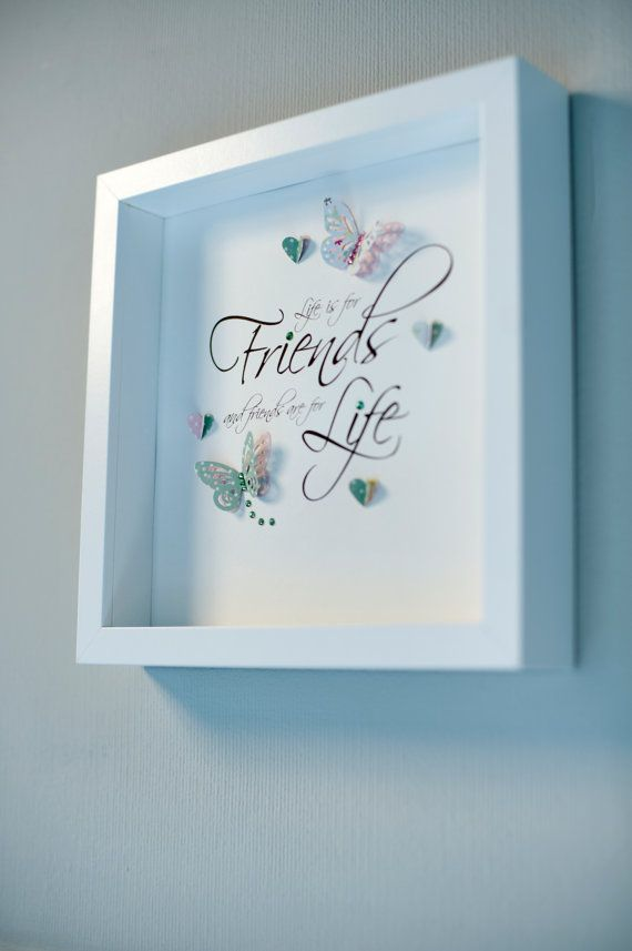Beautiful handmade box frame picture with a quote & 3d butterflies ...