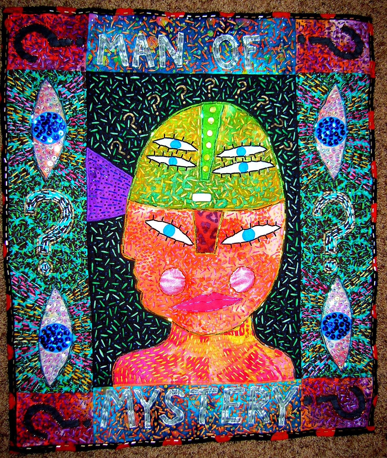 Man Of Mystery Outsider Folk Art Quilt By Stucky