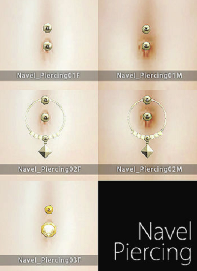Sims 4 CC's - The Best: Navel Piercings for Males and