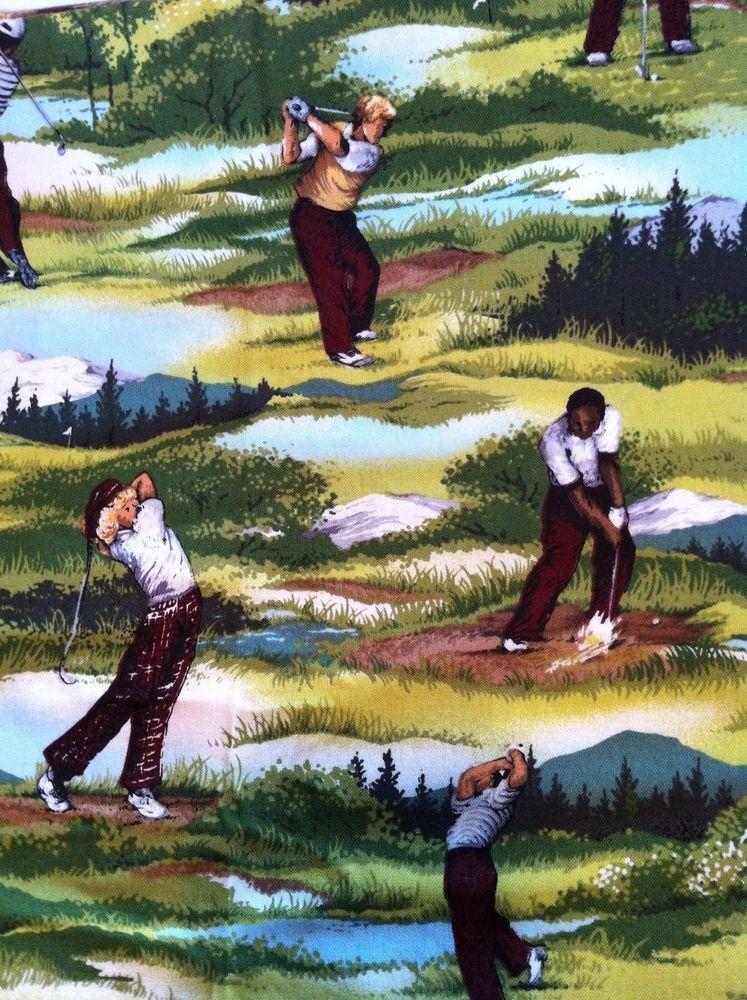 Fabric Golf Shower Curtain Golfer Theme Decor Bathroom Made W Andover Material Sports