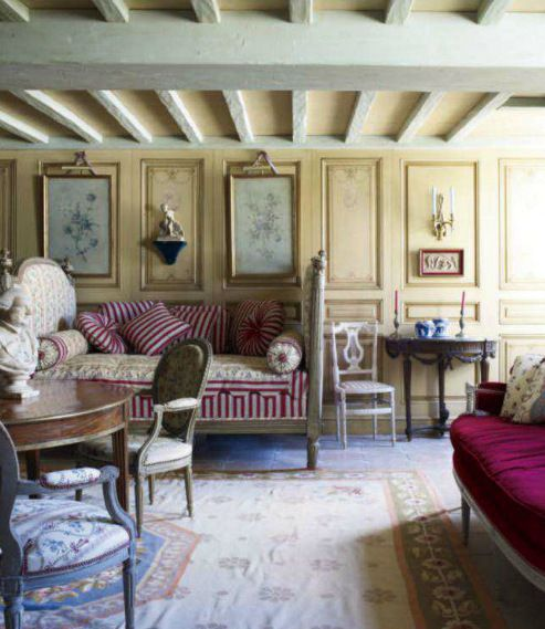 Rustic French Country living Room from Cote Sud home decor magazine from  France.A hallmark