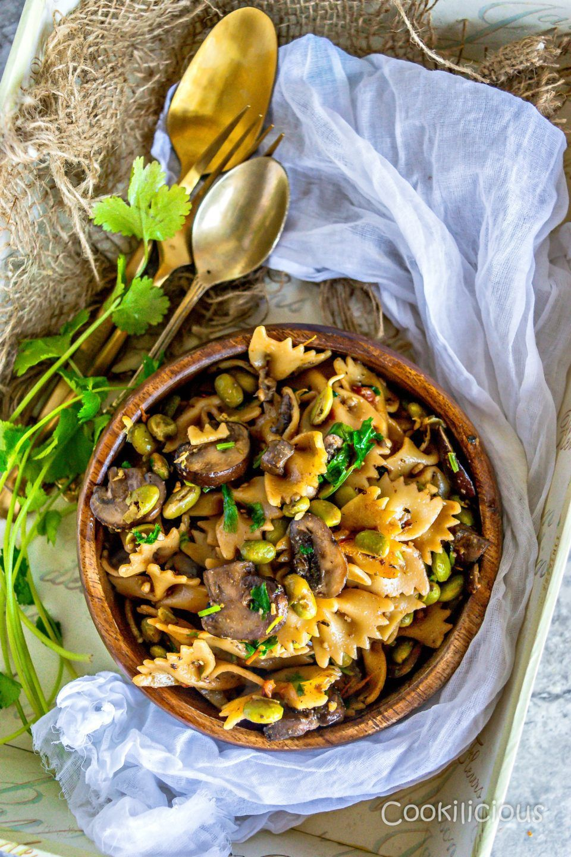 A savory earthy pasta dish featuring sauteed mushrooms